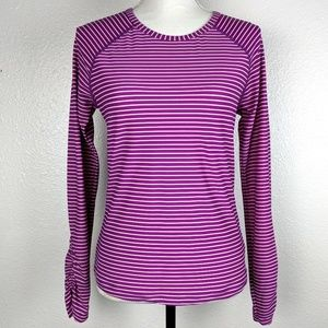 ATHLETA Striped Ruched Stretch Athletic Shirt Ttop